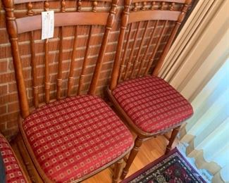 #64 dining chairs w red seats  $120.00
