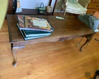 #3queen anne leg coffee table 50x22x13 $50.00