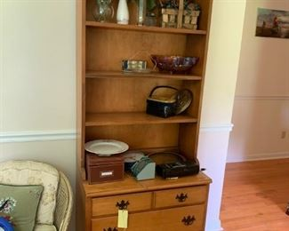 #53 drawer maple cabinet with bookcase on top 30x18x29-77 $120.00