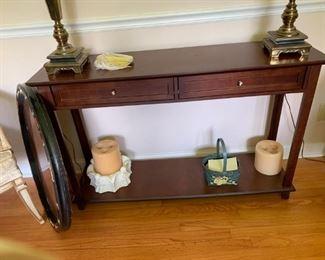 #4sofa table w 2 drawers straight legs 48x13x31 $75.00