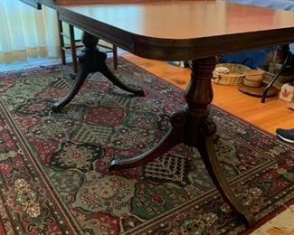 #10double pedistal mahogany dining table w 2 leaves 55-79x36x29 $120.00