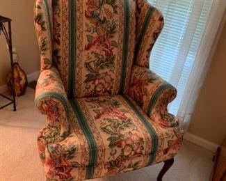 #6(2) Sherrill peach color strip flower wingback chairs $75 ea