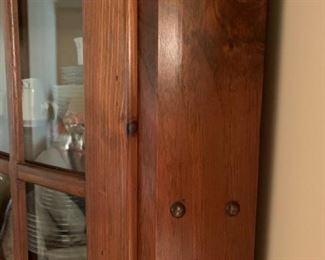 #9pine corner cabinet w 2 glass doors and 2 wood doors 24x43x78 $125.00