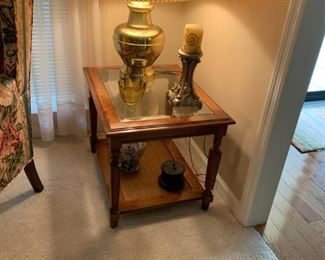 #12		bassett rectangle glass top end table 	 $45.00