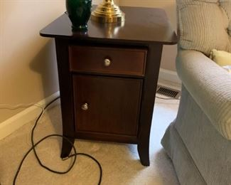 #16black base wood top end table w 1 drawer and 1 door  $75.00