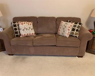 #21		brown hide a bed sofa 83 w	 $120.00