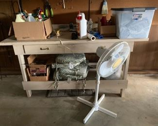 #26home made work bench 72 long w 1 drawer $75.00