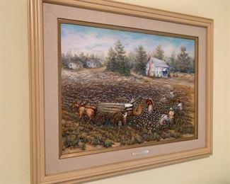 #34shirley McGhee Painting of cotton fields Orginal oil  $125.00