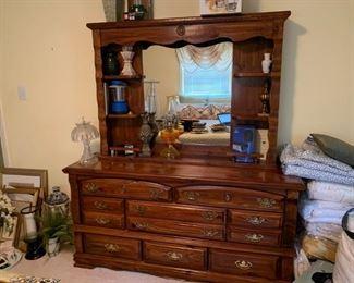 #37pine dresser w mirror 64 w $75.00