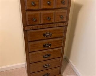 #44		7 drawer chest of drawers thin w laminat top 20 w 	 $75.00