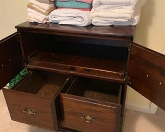 #434 drawer wood file drawers and 2 doors w pull out desk 30x19x38 $125.00