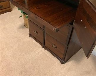 #43		4 drawer wood file drawers and 2 doors w pull out desk 30x19x38	 $125.00