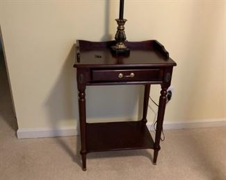 #52		side table w 1 drawer on legs with shelf 	 $65.00