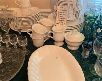 #61Mikasa french courtyside china 8 cup/saucer, 8 salad, 8 bowl, 8 plates, 1 bowl, sugar/cream, platter  $125.00
