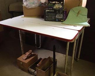 Enamel pin leg table, irons, shoe care