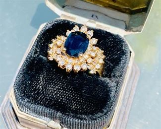 $7000 Chrystel Diamond and London BlueTopaz Ring