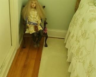 Vintage  DOLL  With chair