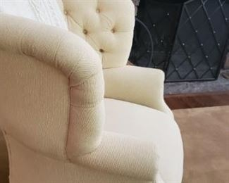 There is 2 of these beautiful pale yellow custom chairs condition excellent