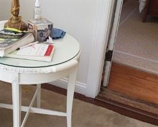 White vintage table with glass