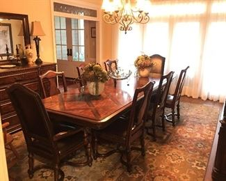 Bernhardt dining table, chairs, buffet and china hutch.