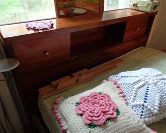 vintage mid century full size bed headboard