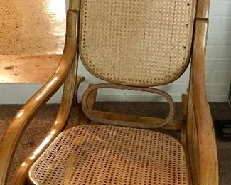 Vintage rocker with cane back and seat