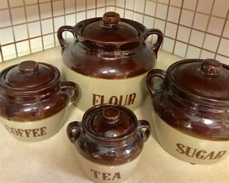 Vintage Monmouth Western Stoneware bean pot style canister set