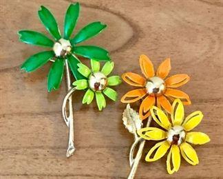 Enamel flower brooches
