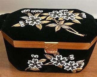 Vintage black velvet box purse with embroidery and beading
