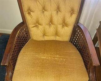 Vintage velvet upholstered, cane side parlor chair