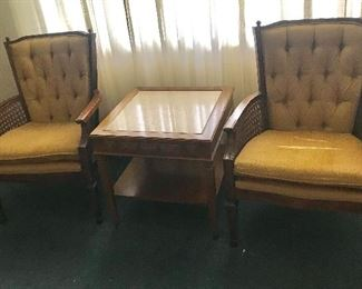 Vintage parlor chairs and accent table