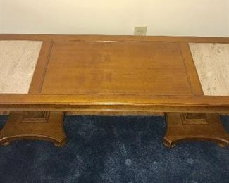 Vintage coffee table with granite inserts