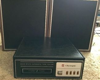 Vintage Olympic 8 track player and speakers