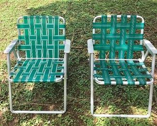Vintage aluminum frame folding chairs