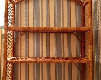 Vintage wicker hanging shelf