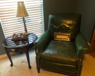 Old leather office chair & table