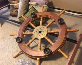 Wood and brass ships wheel light