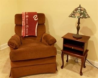 Recliner, Side Table & Tiffany Style Lamp