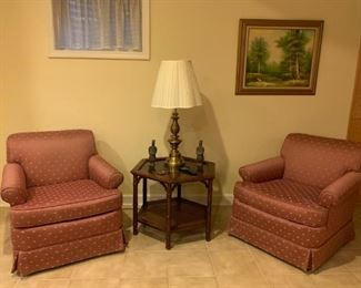 Side Chairs, End Table & Vintage Lamp