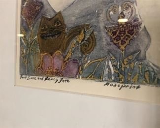 Linda Gourley signed monoprint.