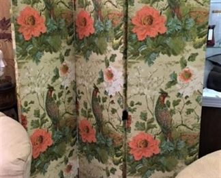 Vintage Fabric 3 Panel Screen