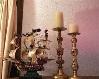 SHIP, CANDLE HOLDERS