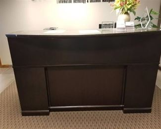 L Shaped Reception Desk, Computer Chair, Trash Can and Mat