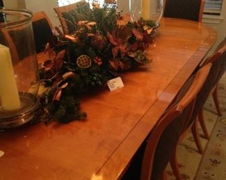 Long Christmas centerpiece and globe candle holders