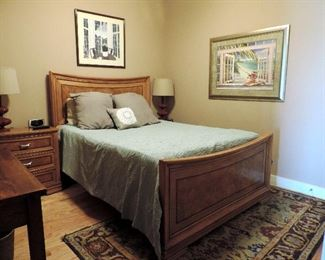 QUEEN WOODEN BED, END TABLES, LAMPS, RUG AND FRAMED ART