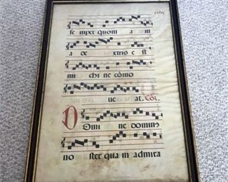 This is 14th Century Italian Sheet Music made out of painted vellum that has been framed. There is slight yellowing of the paper and shows age well as can be see in photographs.  This has been reviewed by the Cleveland Museum of Art by the previous owner at one time however there is no documentation.