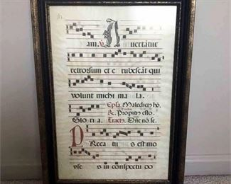 14th Century Italian Sheet Music Framed Art Display