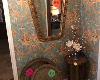 Brass trays, Mirror, Small side table