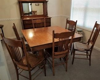 Antique Dining  Table & Six Chairs