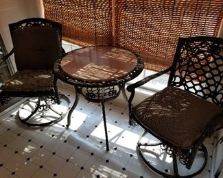 Heavy Iron Patio Chairs and Table